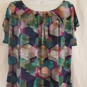 Worthington women's multi-colored geometric top